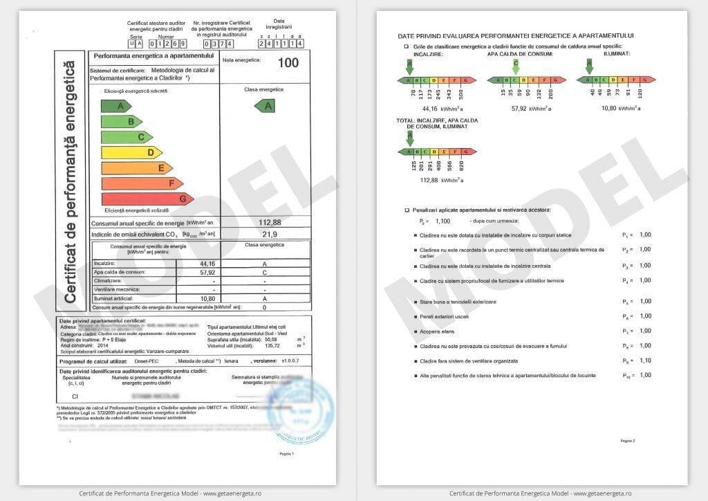 Certificat de performanta energetica pentru apartament, model clasa A